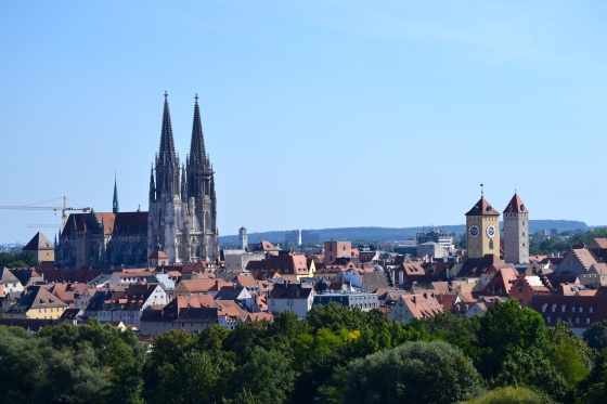 View of Regensburg Old Town from ferris wheel