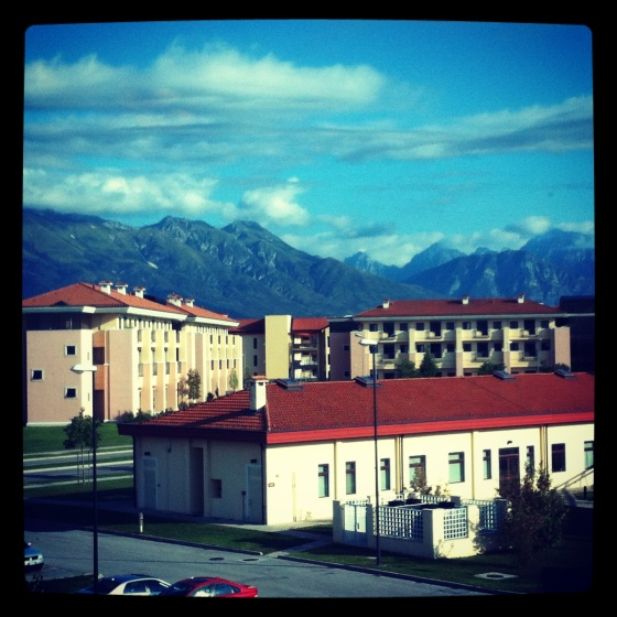 The fabulous view of Dolomite Mtns from our hotel room in Aviano