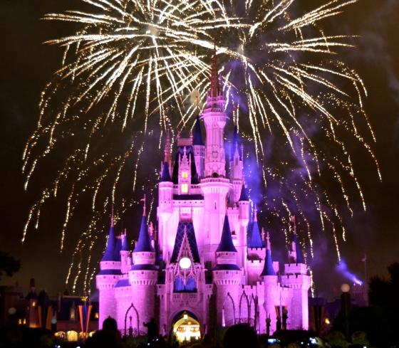 Cinderella's Castle lit for the fireworks show