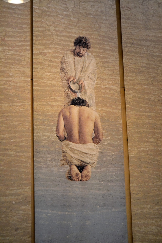 Stunning Belgian tapestry depicting the baptism of Christ hangs in the cathedral