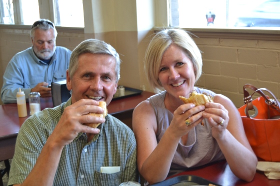 Dad and I stop just long enough for a picture of us eating our sandwiches