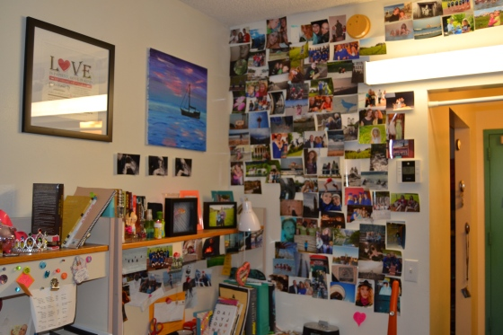 I couldn't believe it: Lauren took half of her photo wall and recreated it at college