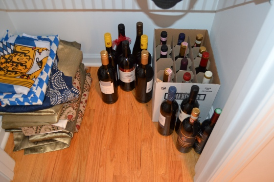 I'm sure we're violating some wine snob rule for proper storage of vino.