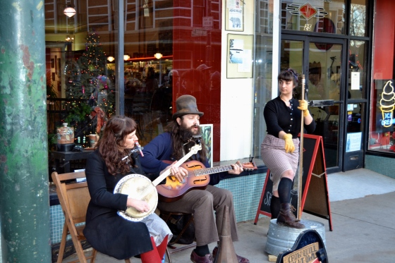 Enjoying folk music on the streets of Asheville, NC