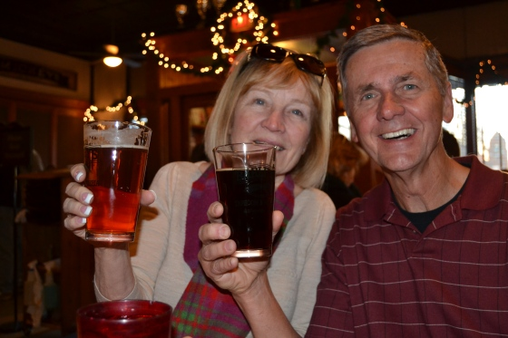 Mom and Dad toast the holidays with their craft beers