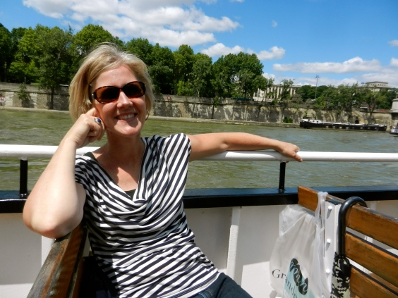 Enjoying a boat ride on the Seine