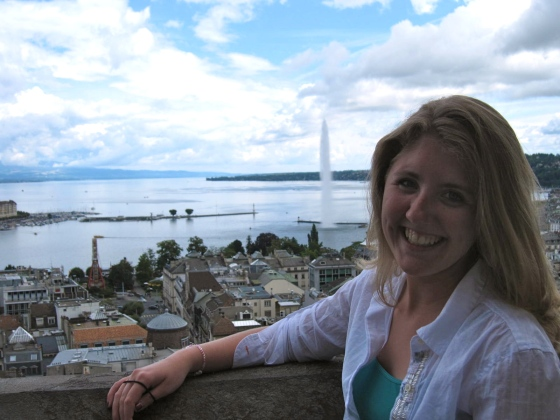 Lindsey high atop St Pierre's Cathedral with Lake Geneva in background