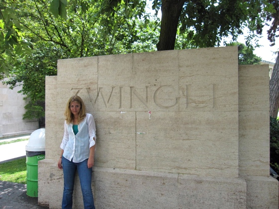 Lindsey poses in front of a monument to Zwingli. To other visitors, it's just a dead guy but for the Rietkerks...A Must See!