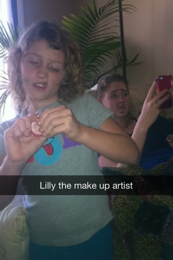 """Check out Lindsey's cool makeup. I'm pretty good."""