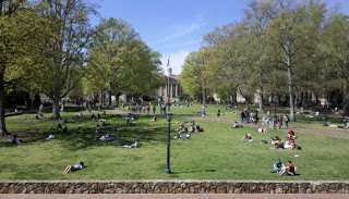 """The quad at Chapel Hill...Lindsey says they sometimes play frisbee here."""