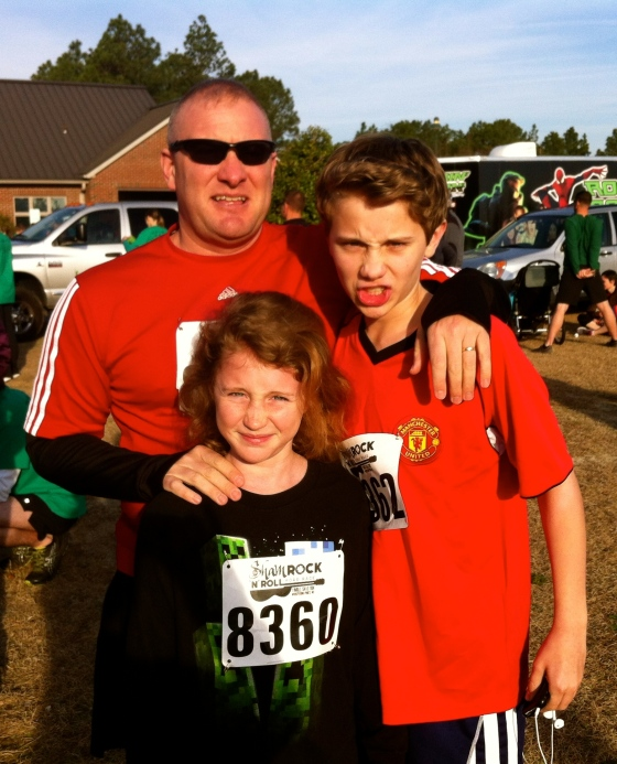Tim and the kids before the race. Game Face On