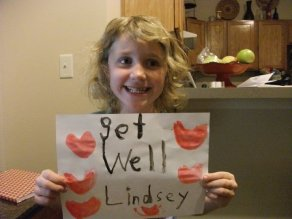 Lilly sends Lindsey a get well wish