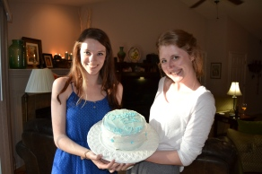 The cake that Lauren made for the girls--Carolina blue