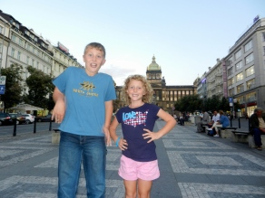 Will and Lilly on Wenceslas Square