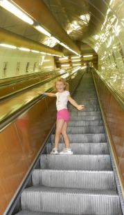 Steep escalators in Prague