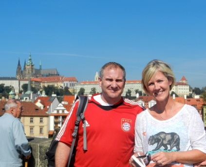 Tim and Kristen on Charles Bridge, Prague