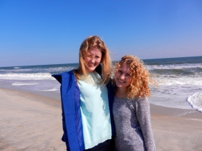 Lindsey and Lauren at the beach, Wilmington NC