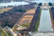 """View of Lincoln Memorial and the infamous """"FACE"""" in the dirt"""