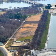 "View of Lincoln Memorial and the infamous ""FACE"" in the dirt"