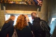 Peeking through the windows on the Observation Deck of Washington Monument