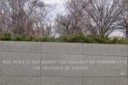 """Quotes from MLK line the outer walls of the memorial: """"True peace is not merely the absence of tension; it is the presence of justice."""""""
