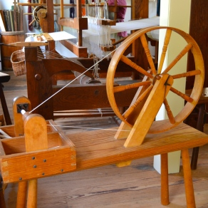 spinning wheel in the Williamsburg shop