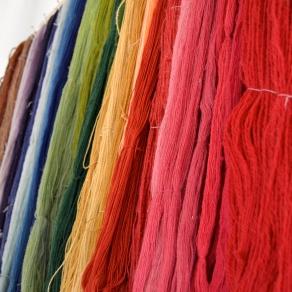 Brightly died yarn