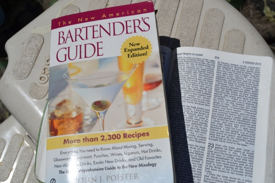 two gems from our daughter's boxes...mixed drinks and a Bible