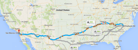 Our proposed route takes us through Nashville, Oklahoma City, Albuquerque and finally, Los Angeles