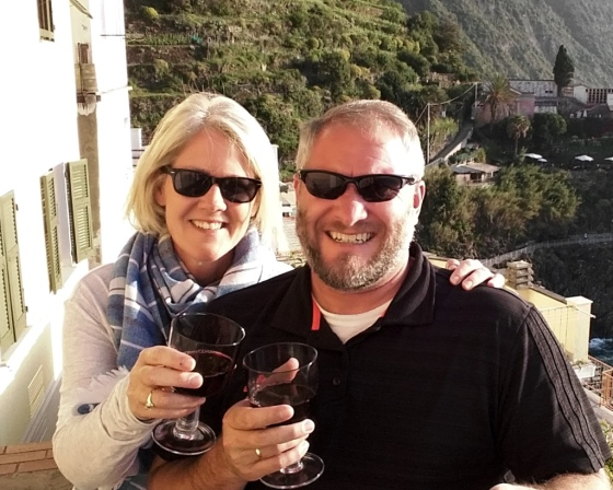 Toasting the day in Cinque Terre