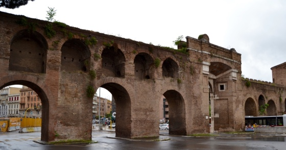The ancient city walls of Rome