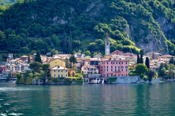 View of estates lining Lake Como