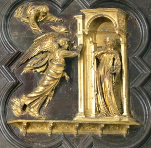 One of the bronze panels from the Baptistry doors