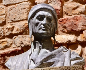 An unexpected discovery down a tiny street--Dante's home with imposing bust looking down on us