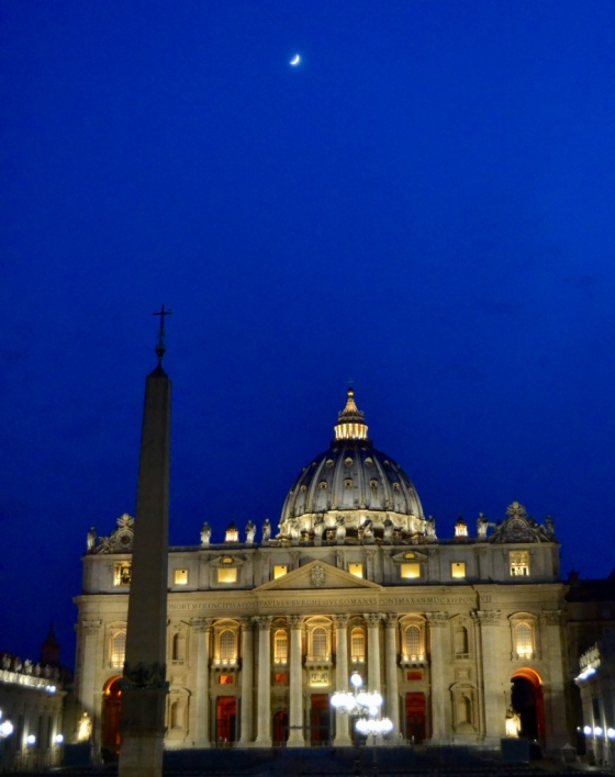 A nighttime view of St Peter's Basilica, Vatican, Rome