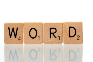 Word with scrabble blocks